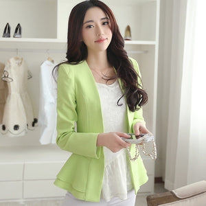2016 New Autumn Long Sleeve Knitted Blazers for Women Jackets Ruffle Woman Coats Tops Lady Cardigans Work wear Green,White