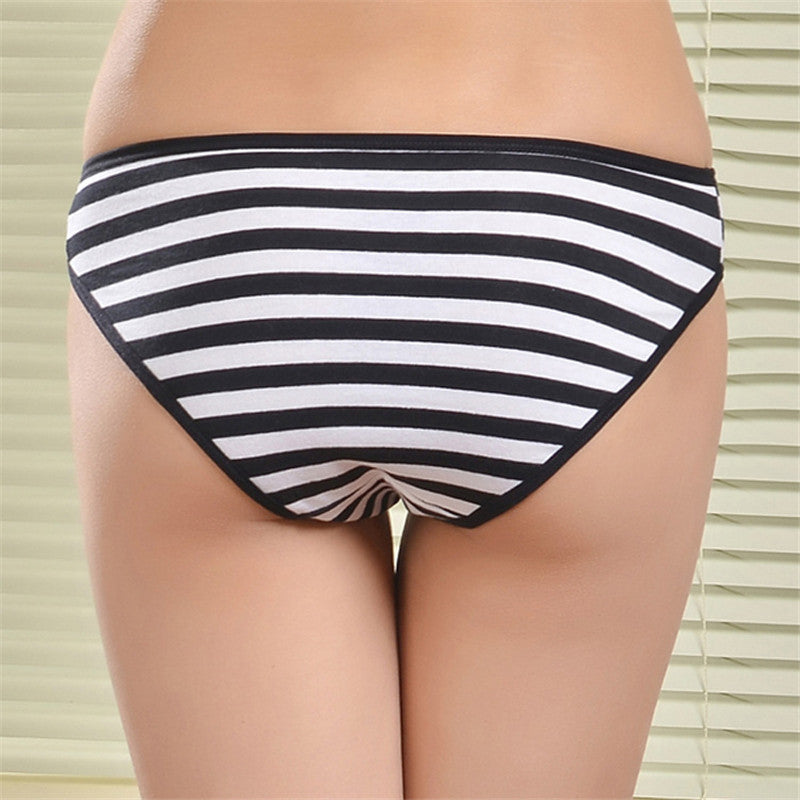 2016 New Cotton Women Striped Panties Cotton women's briefs sexy low-waist panties Ladies briefs Ladies Cotton Briefs underwear G-Strings, Thongs & Tangas FUNCILAC- upcube