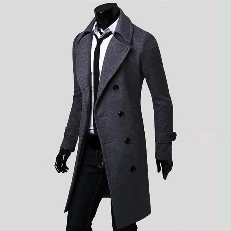 2016 New Mens Trench Coat Slim Mens Long Jackets And Coats Overcoat Double Breasted Trench Coat Men Windproof Winter Outerwear Coat Moresell- upcube