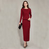 2016 New Spring and Autumn Female Round neck Floor-length Cashmere Sweater  One-piece Dress Casual Solid Knitting Women Dress Dresses Adohon- upcube