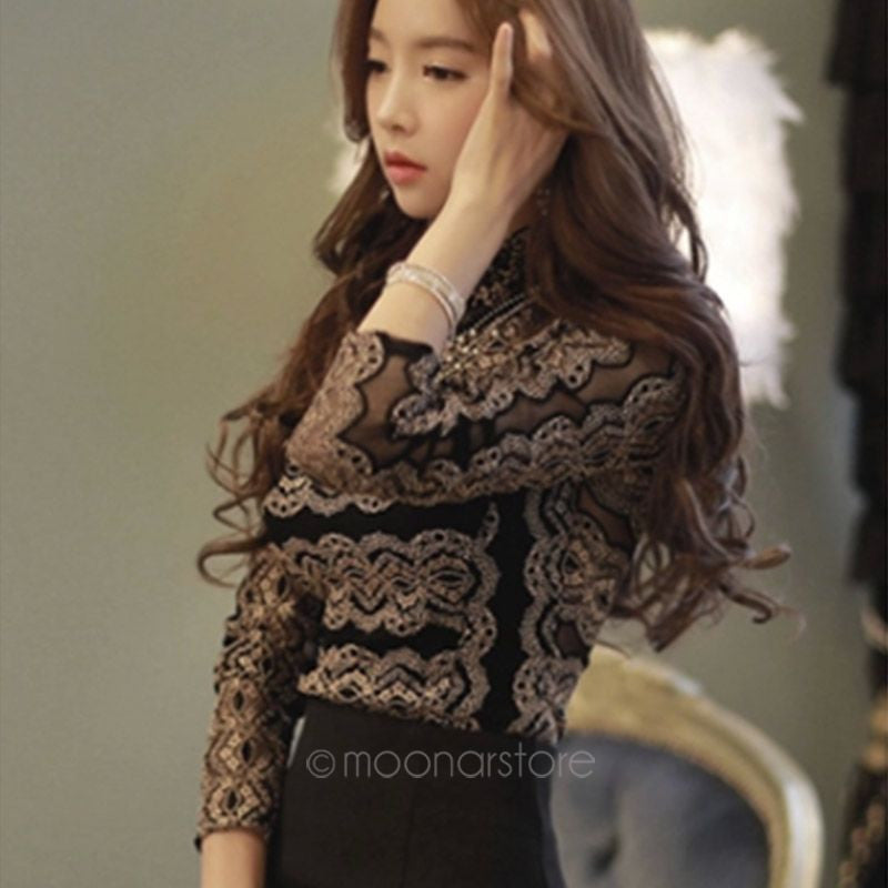 2016 New Summer Sexy Ladies Elegant Black Lace Long Sleeve Blousa Vintage Shirt Hollow Out Knitted Tops Plus Size S-XXL Blouses & Shirts Moresell- upcube