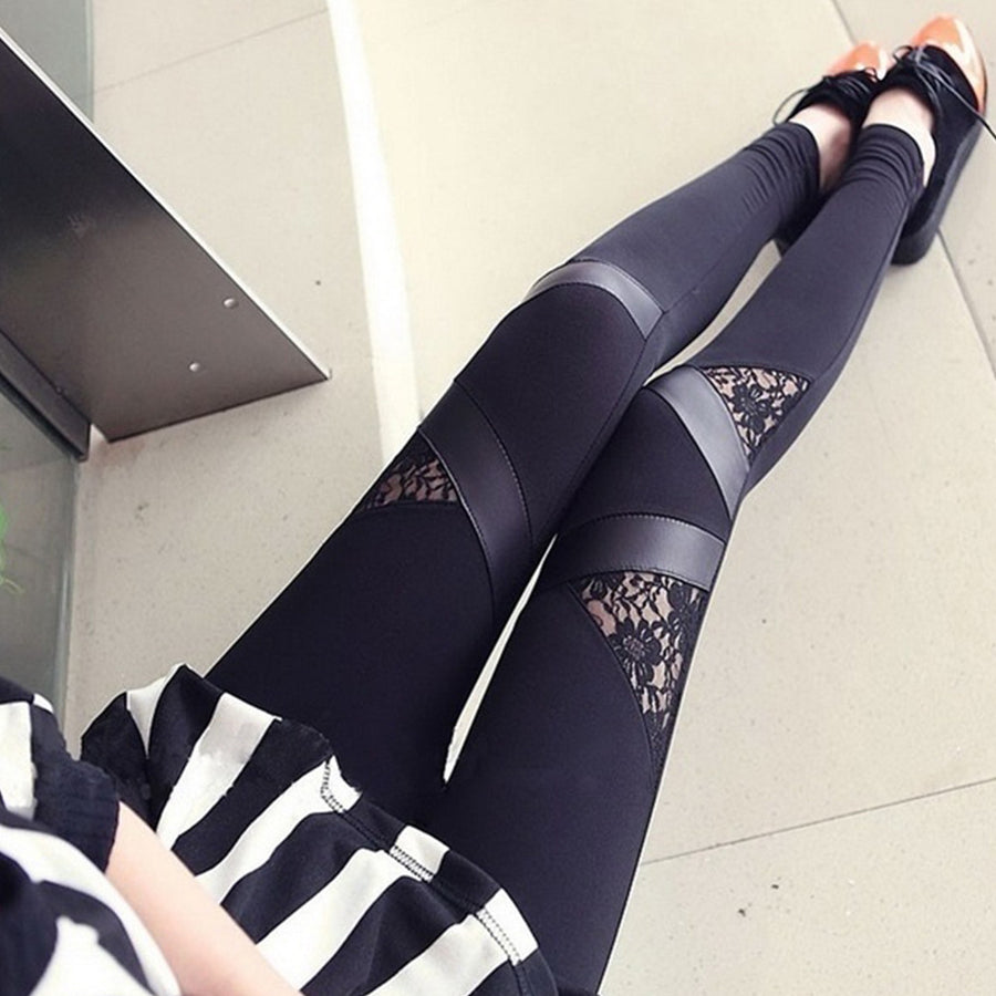 2016 autumn NEW punk gothic rock legging sexy lace PU Leather splice vestidos femininos Women apparel Leggings Leggings Moresell- upcube