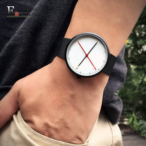 2016 gift Enmex creative style  cool wristwatch two balance hands with Fine scale casual stainless steel fashion quartz watch