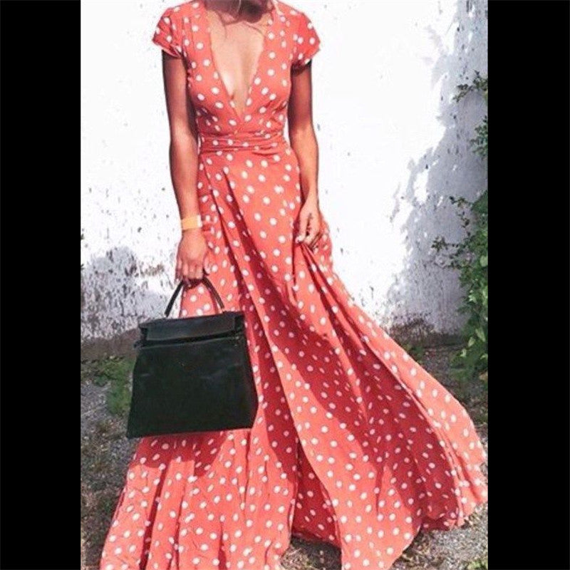 2017 Aakar shan New Fashion Sexy  Women Summer Boho Dot Deep V-Neck Long Maxi Evening Party  Dress Beach Dresses Sundress Dresses You can you up.- upcube