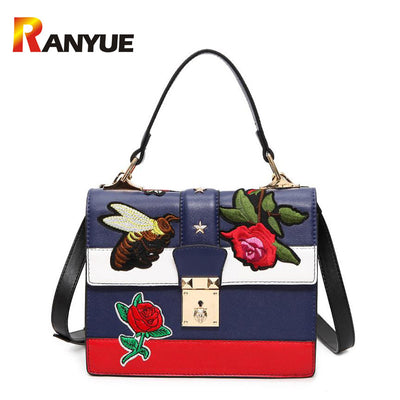 2017 Autumn National Vintage Embroidery Shoulder Bag Women Floral Bee  Embroidered Handbags Ladies Small Lock 444b4a666ef39