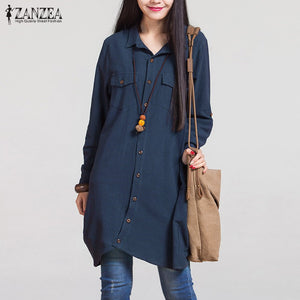 2017 Autumn ZANZEA Women Vintage Lapel Cotton Long Shirts Casual Loose Full Sleeve Blouses Tops Plus Size Blusas Oversized