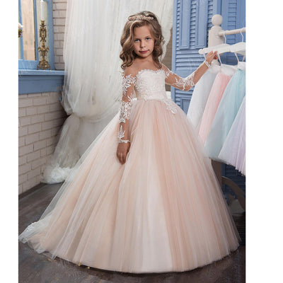 2017 Beautiful Pageant dresses Cap Sleeves New Light Pink White little girl  party Gown Lace Ball bdefe45c02f4