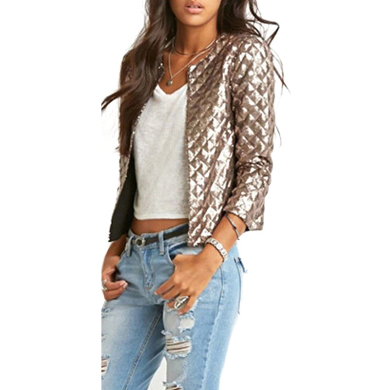 2017 Brand New Spring Style Vogue Women Lozenge Sequins Jackets Stylish Solid Gold/Brown Coat Fashion Short Slim Outwear