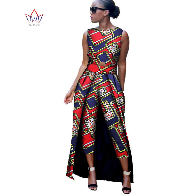 98063c741ee 2017 Fashion Africa Cotton Wax Print Rompers African Bazin Riche Jumpsuit For  Women Dashiki Fitness Jumpsuit