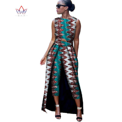 7b8eaed36890 2017 Fashion Africa Cotton Wax Print Rompers African Bazin Riche Jumpsuit  For Women Dashiki Fitness Jumpsuit
