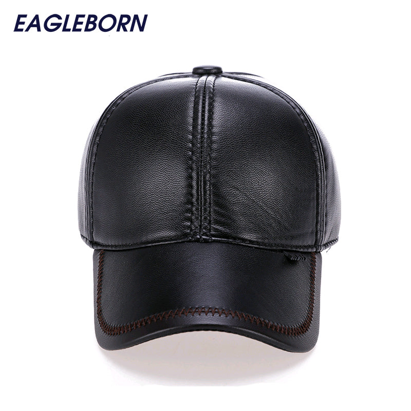 2017 Fashion Leather Baseball Cap Men Thicken Fall Winter Hats with Ears 6 Panel Keep Warm Leather Cap Male Hats Bone casquette Hat EAGLEBORN- upcube