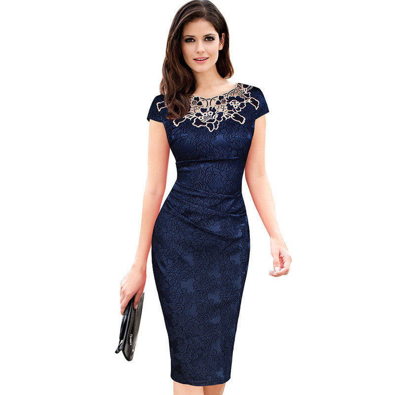 6e5c4645d5 2017 Fashion Womens Embroidery Elegant Vintage Dobby Fabric Hollow Out  Embroidered Ruched Pencil Bodycon Evening Party