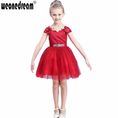 bab912d4cabe 2017 Flower Girl Dress for Weddings Crystal Girls Pageant Dresses Red First  Communion Dresses Robe Petite