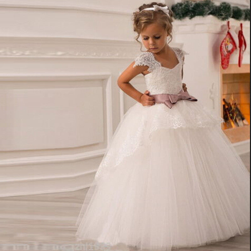 2017 Flower Girl Dresses With Sashes Cap Sleeves Ball Gown Party Pageant Dress For Little Girls Kidschildren Dress For Wedding