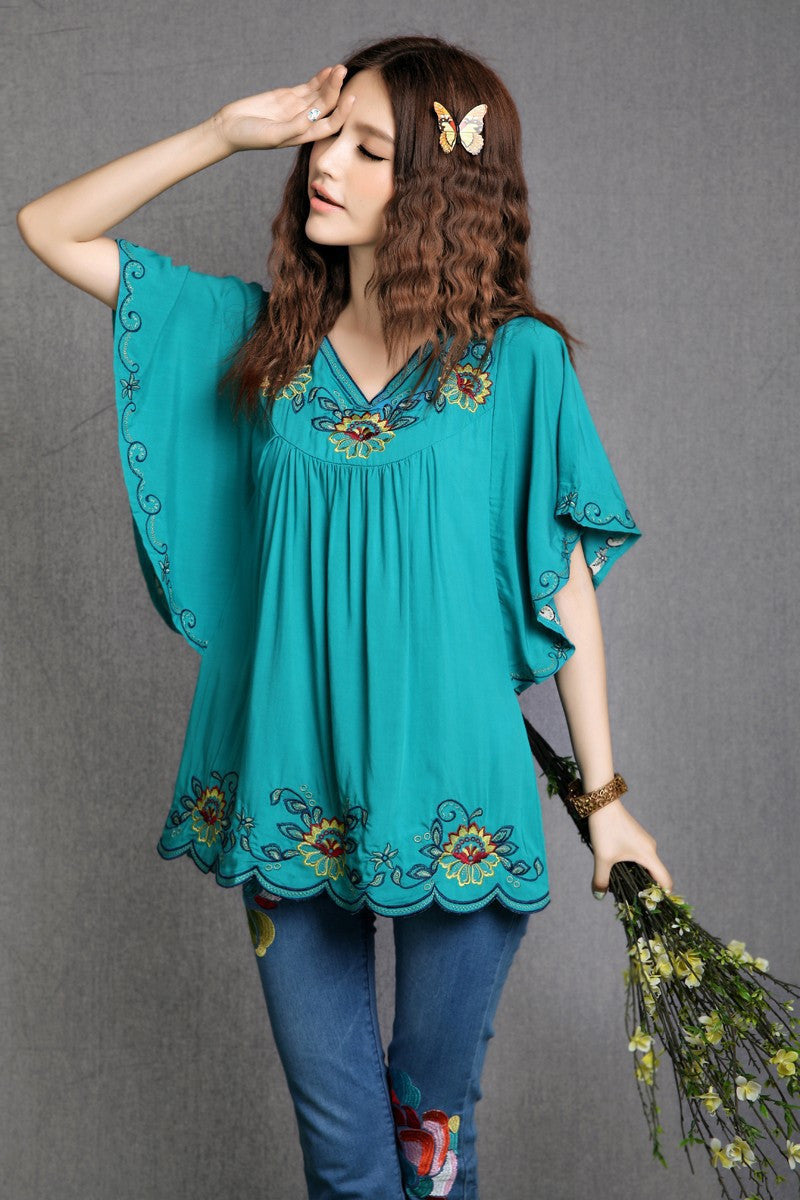 1986a28398166 2017 Hot Sale vintage 70s mexican Ethnic Floral EMBROIDERED BOHO Hippie  blouses / shirt Women Clothing Tops Tunic Free Shipping