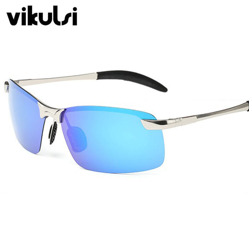 2017 Mens Rimless Aluminum Polarized Sunglasses Men Driving Polarised Eyewear Goggle Glasses Male Night Vision Goggles Oculos