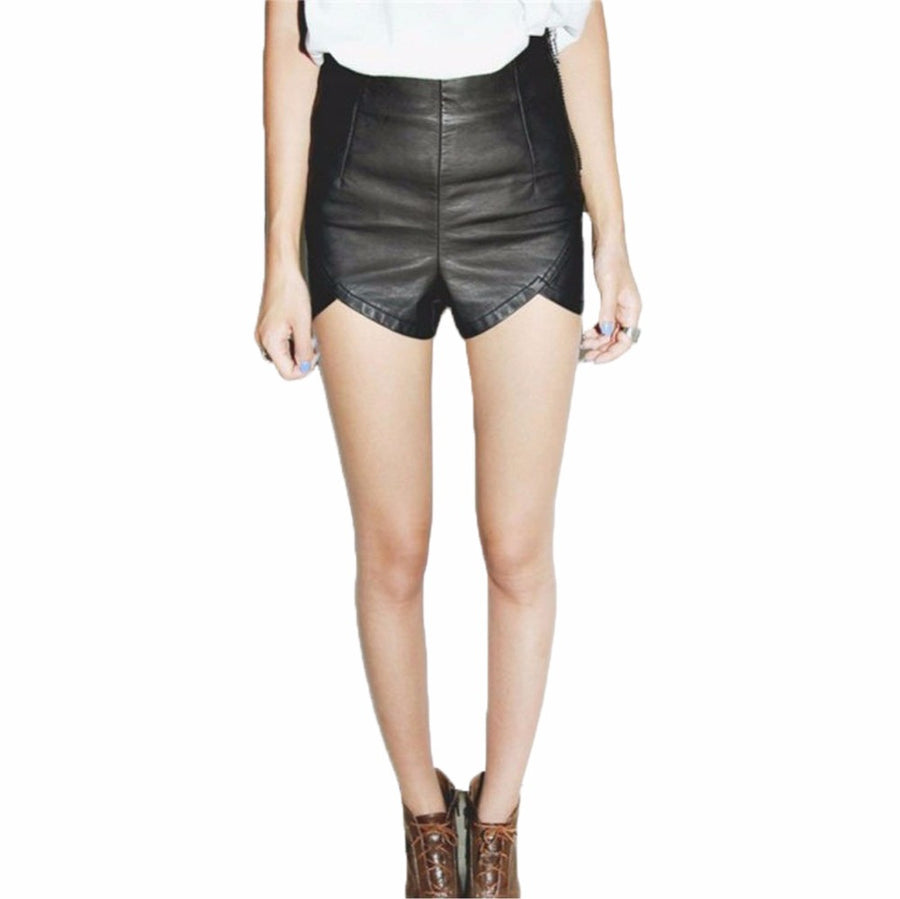2017 New Arrival Vintage Summer Women's Fashion Sexy Black PU High Waist Shorts Slim Slit Faux Leather Shorts
