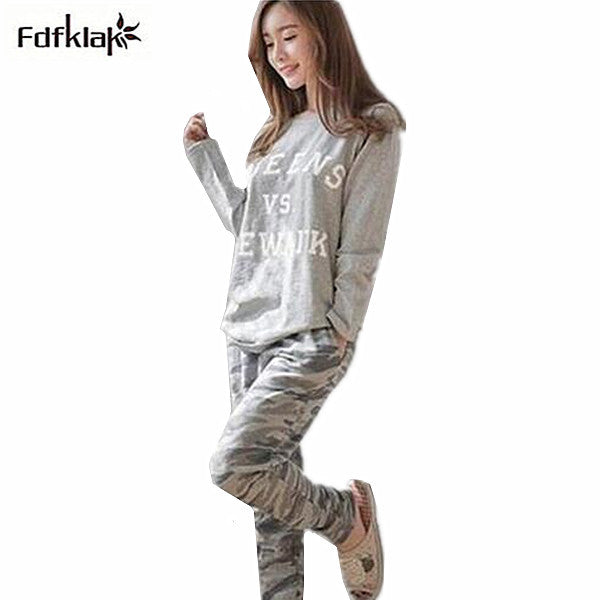 2017 New Autumn Winter Tracksuit For Women Long Sleeve Letter Printed  Pajamas Set Cotton pyjamas women 680164c0f