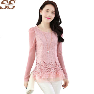 2017 New Fashion Ladies Blusas Women's Long Sleeve Chiffon Lace Crochet Tops Blouses Women Clothing Feminine Blouse
