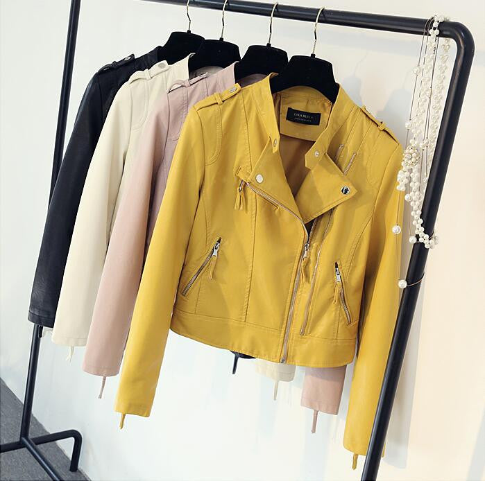 bc16cdee3 2017 New Women's Spring Autumn Pu Leather Jackets Clothing Lady Slim Fit  Yellow pink rice white