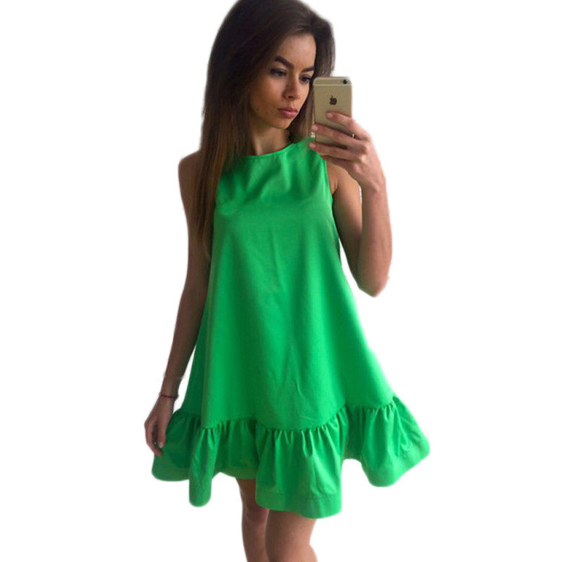 2017 Sexy Ruffle Women Sun Dress Summer Sleeveless Casual A Line Bodycon Short Mini Tube Beach Dresses Party Cocktail Vestidos