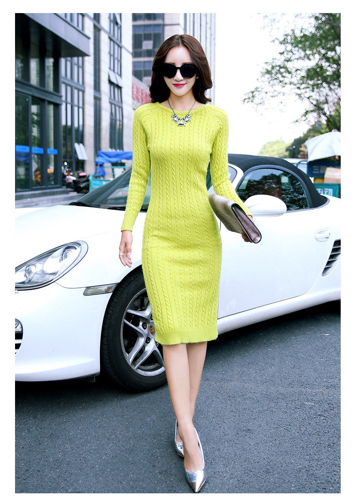 2017 Spring Autumn Winter Tight Stretchy Knitted Dress Women Sexy Casual Long Maxi Sweaters Dress Pull Vestidos Robe Dresses Dresses Good&Better&Best- upcube