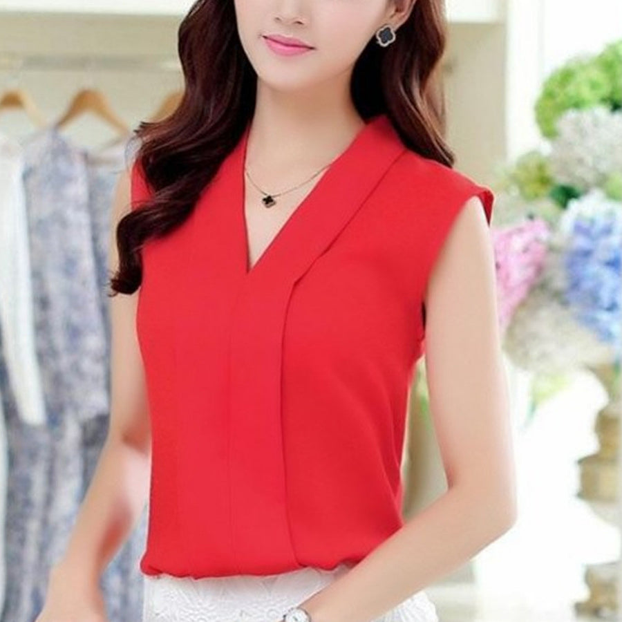 2017 Spring Summer Women Chiffon Blouses Sexy Sleeveless V neck Woman Casual Loose Office Lady Top Female Shirt Blusas Feminina Blouses & Shirts Fantaisie- upcube