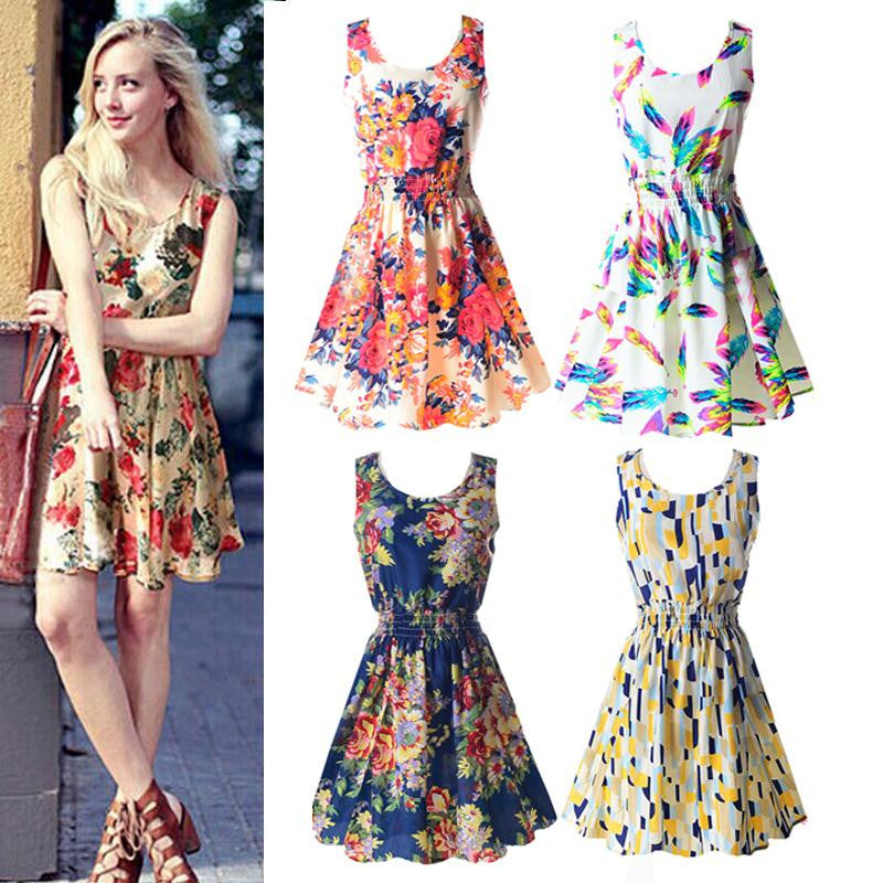 2017 Summer Sundress Fashion Women Sexy Chiffon Sleeveless Sundress Beach Floral Tank Mini Dresses