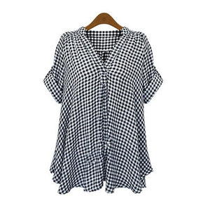 2017 Summer Women Plaid Blouse Shirts Mujer Tops Tee Blusas Feminina Short Sleeve Sexy Ladies Blouse Clothing Plus Size 5XL