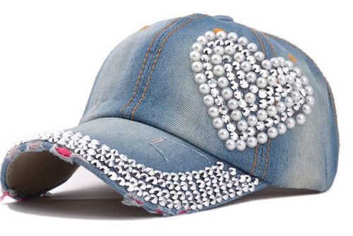 2017 new women post heart-shaped diamond pearl new cowboy do old torn jeans duck tongue baseball cap Summer rhinestones cap hats Baseball Caps Yiwu yiw5 e-commerce firm- upcube