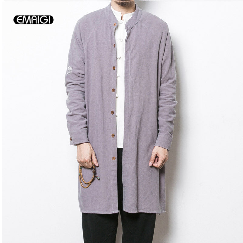 0b3677ae5 2017 spring new mens trench coat china style men's cotton flax long cardigan  autumn male casual