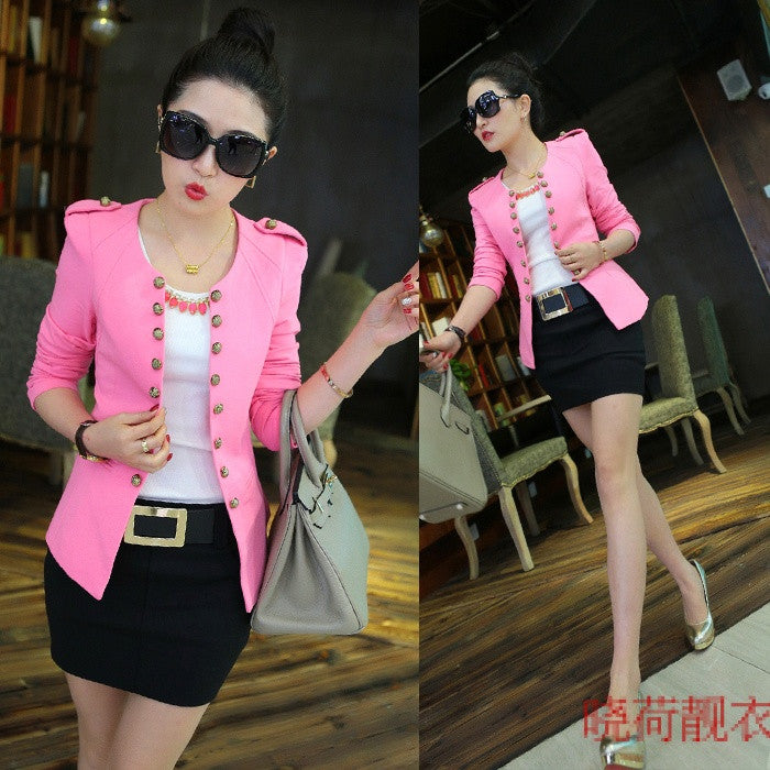 2017 spring women's Jacket outerwear slim women blazer women's white blazer small jackets and coats pink girl wear jacket suit