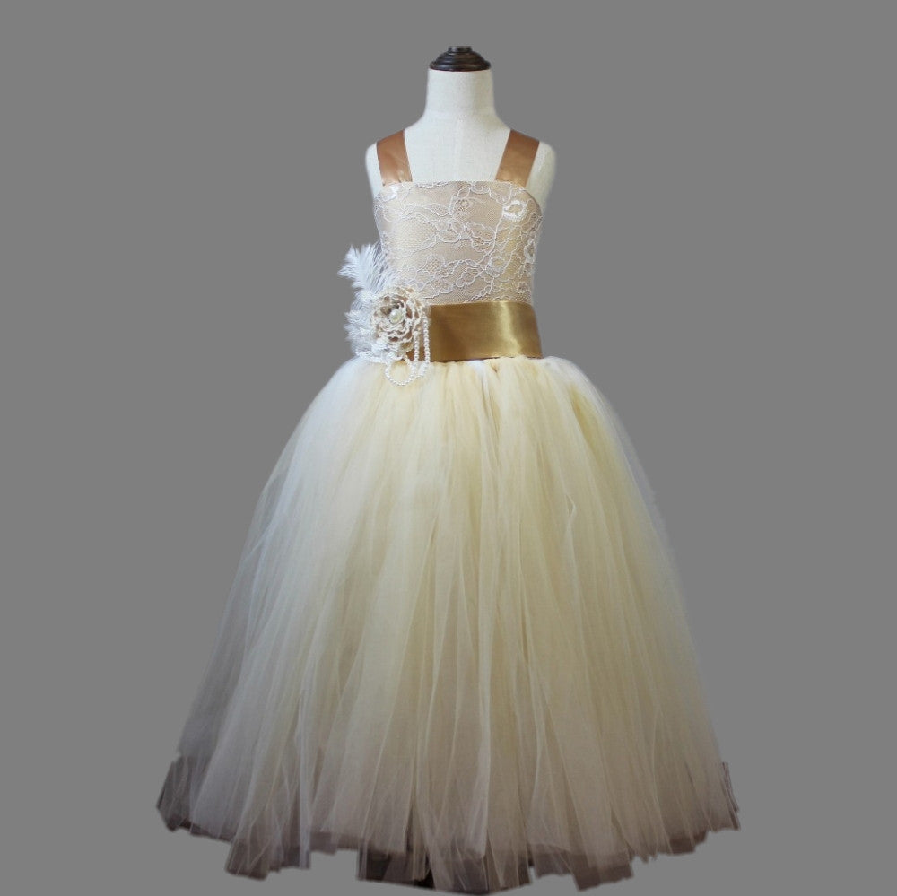 6e17f7c5b9d 2017 vintage lace rustic champagne color spaghetti straps fluffy tulle ball  gown flower girl dresses for