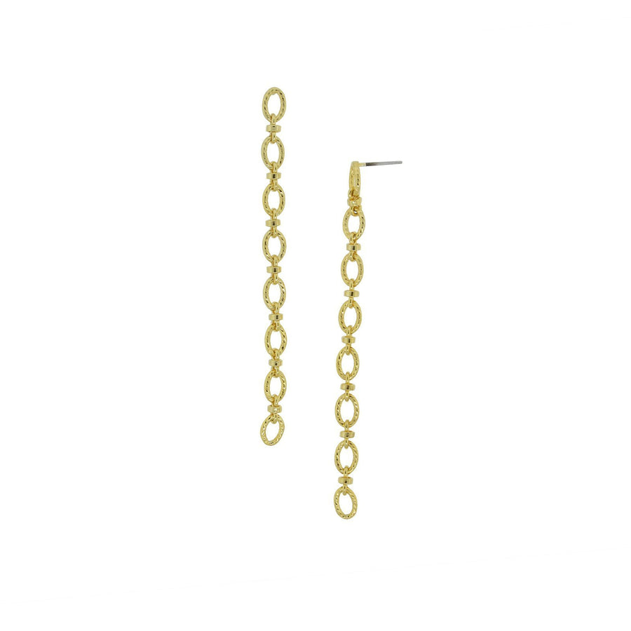 14k Gold Dipped Linear Cable Chain Earrings - upcube