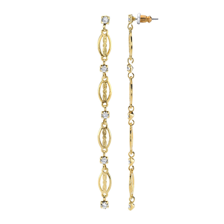 14k Gold Dipped Crystal Linear Drop Earring - upcube