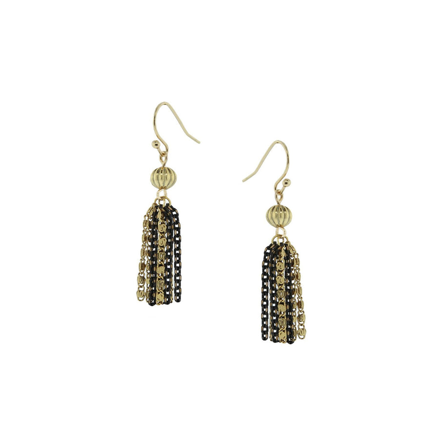 14k Gold Dipped and Black Tone Tassel Earring - upcube