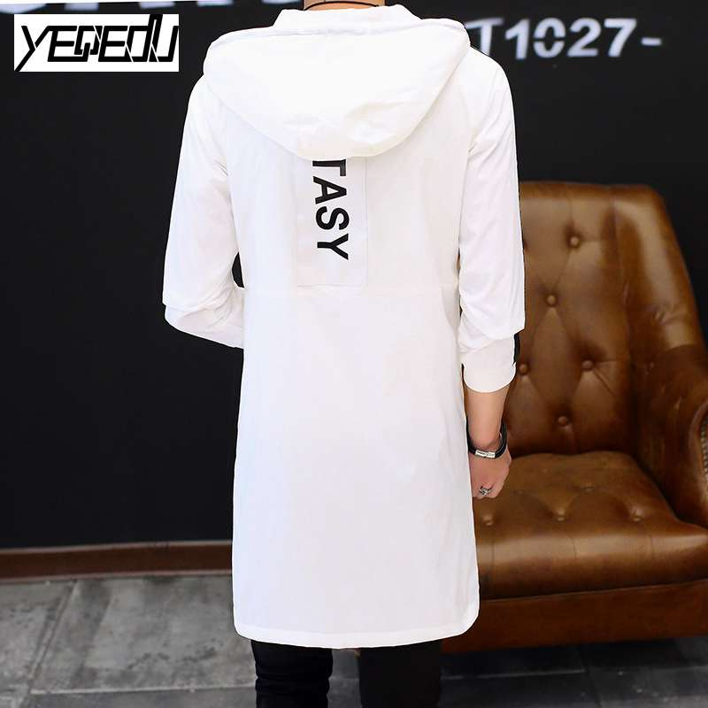 #2447 Spring 2017 Mens hooded trench coat Harajuku Hip hop trench coat homme Big size Trenchcoat White/black mens overcoat 5XL - upcube
