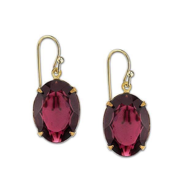 14k Gold Dipped Burgundy Oval Drop Earrings - upcube