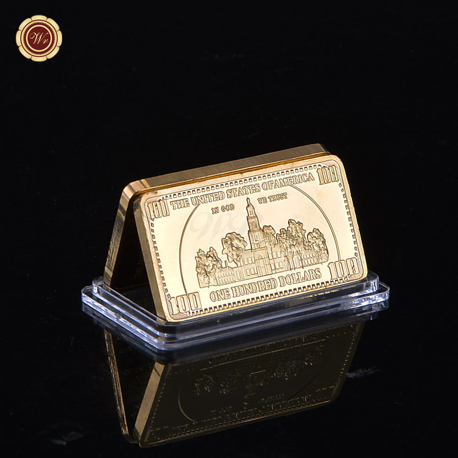 24K Gold Bar 100$ Dollar America Copy Coin USA Gold Plated Souvenir Buillion Collect Business Gift Gold Bar CGG Store- upcube