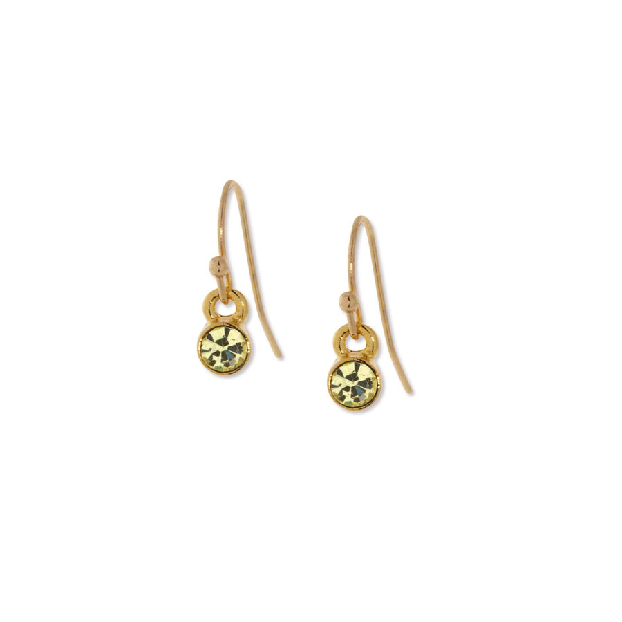 14K Gold Dipped  Round Light Green Crystal Wire Drop Earring - upcube