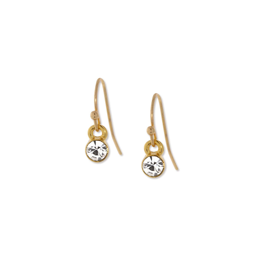 14K Gold Dipped  Round Clear Crystal Wire Drop Earring - upcube