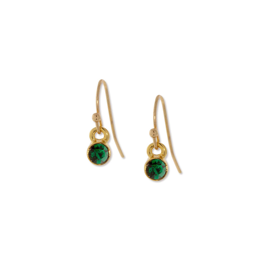 14K Gold Dipped  Round Dark Green Crystal Wire Drop Earring - upcube