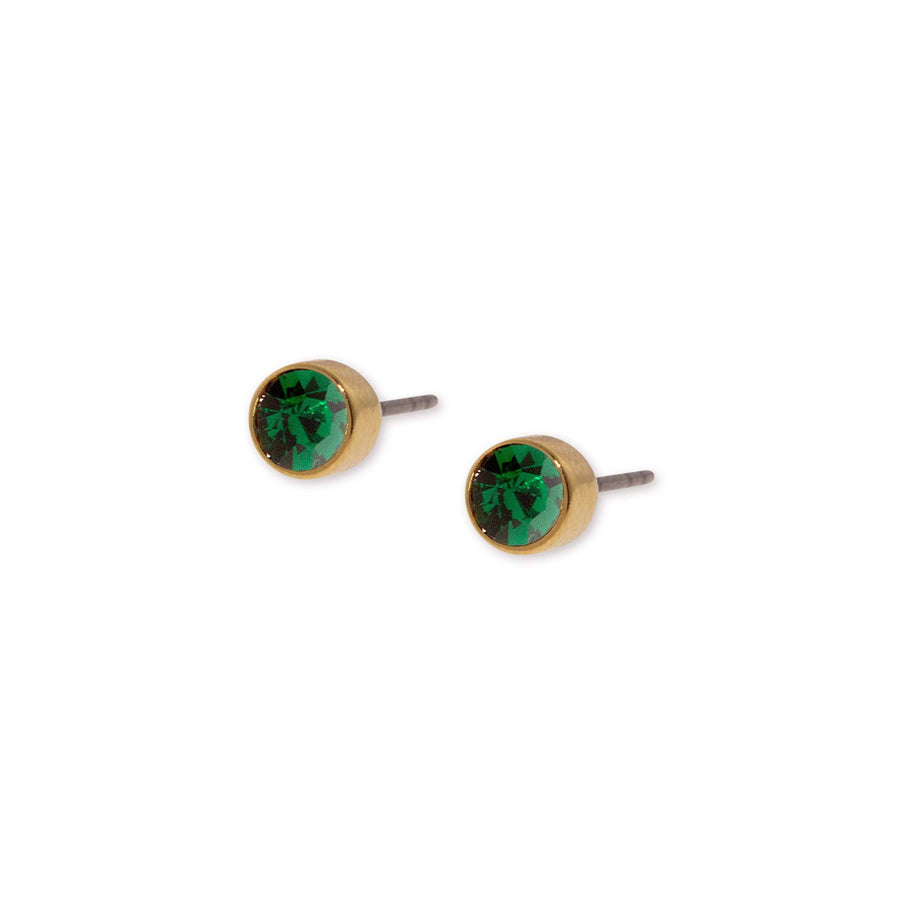 14K Gold Dipped  Round Dark Green Crystal Stainless Steel Stud Earring - upcube