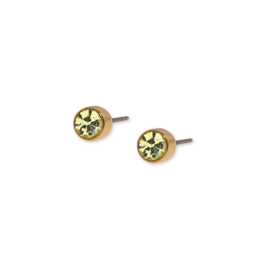 14K Gold Dipped  Round Light Green Crystal Stainless Steel Stud Earring - upcube