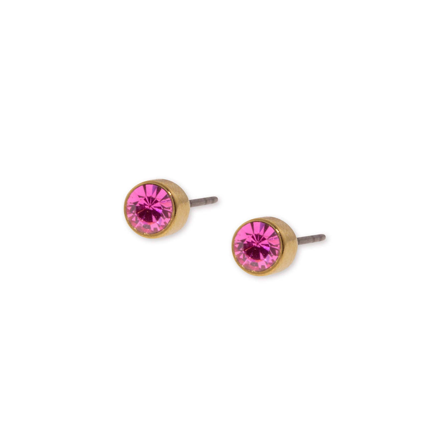 14K Gold Dipped  Round Pink Crystal Stainless Steel Stud Earring - upcube