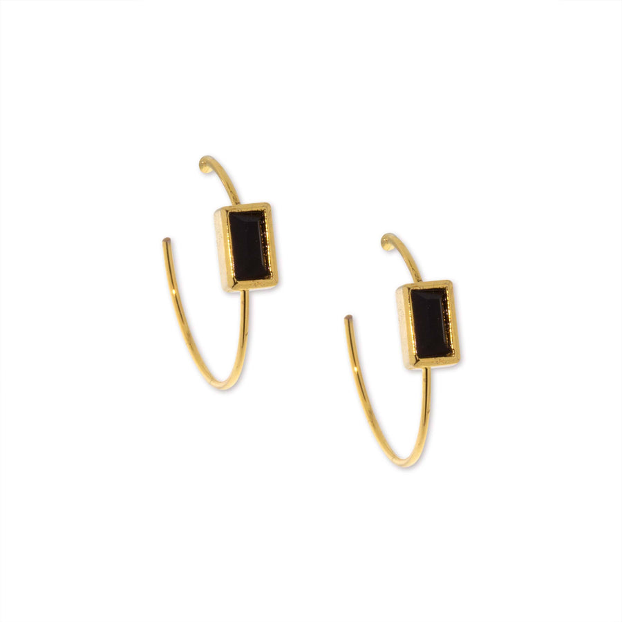 14K Gold Dipped Minimalist Square Black Crystal Open Hoop Post Earrings - upcube