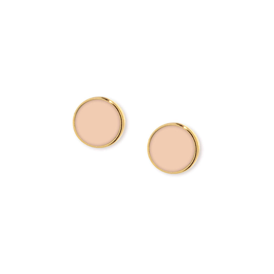 14K Gold Dipped Medium Round Peach Enamel Button Earring - upcube
