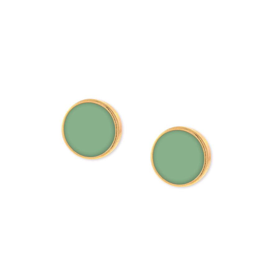 14K Gold Dipped Large Round Green Enamel Button Earring - upcube