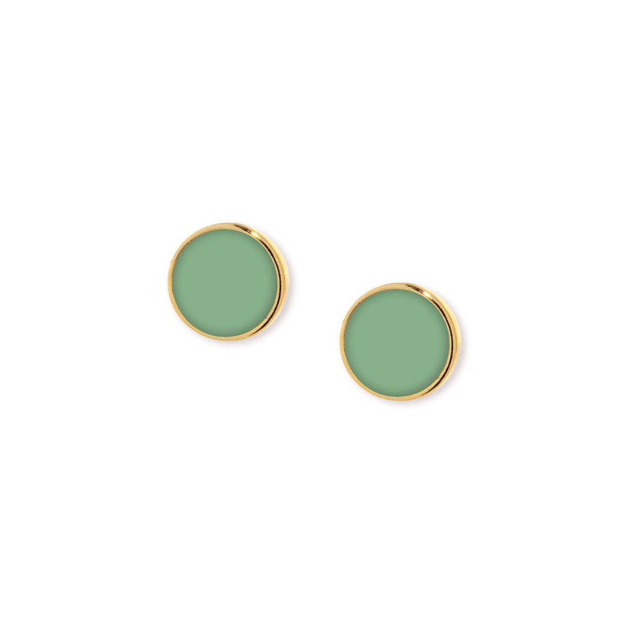 14K Gold Dipped Medium Round Green Enamel Button Earring - upcube