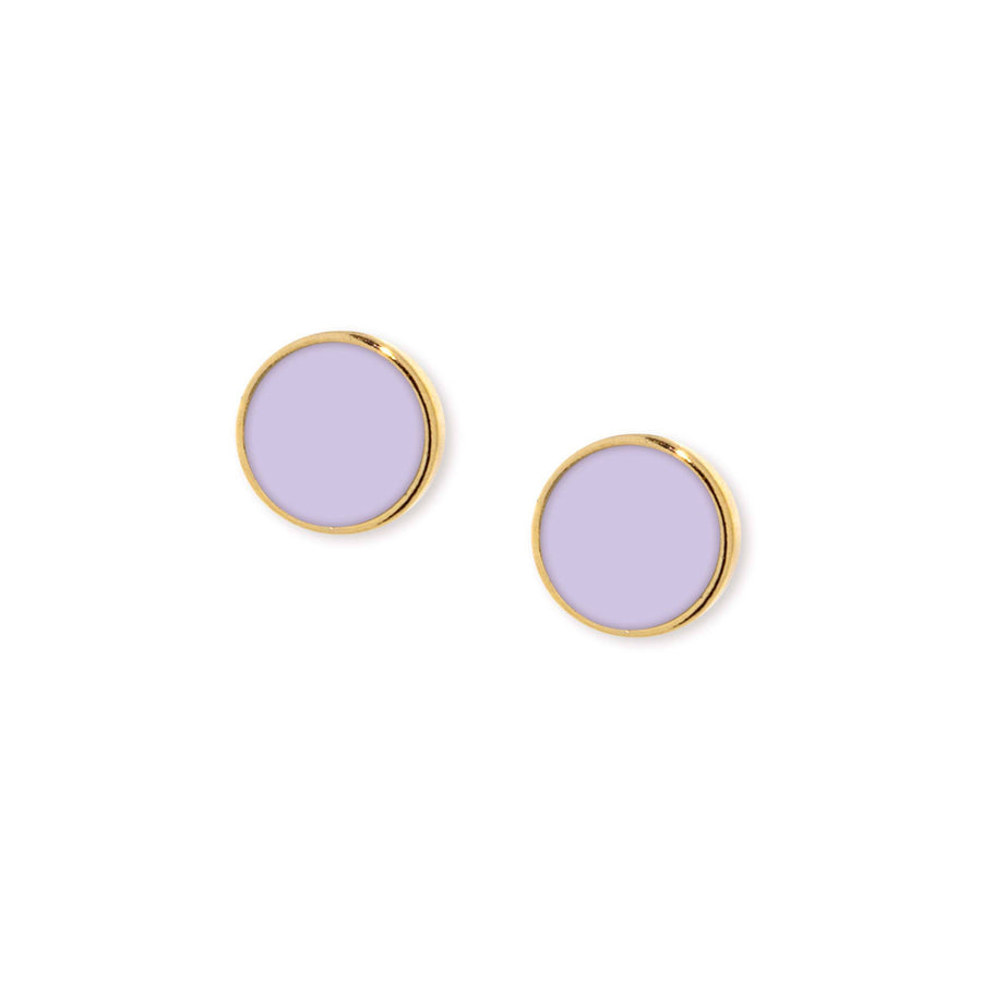 14K Gold Dipped Medium Round Purple Enamel Button Earring - upcube